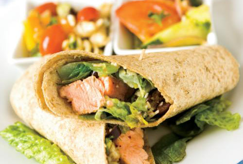 Salmon wraps, with marinated tomatoes and cucumbers and Mediterranean pasta salad for summer picnic-friendly meals.