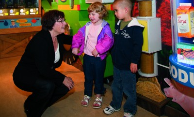 Sharon Covert at the Lincoln Park Zoo's Farm in the Zoo soybean exhibit June 2009. Photo Ken Kashian