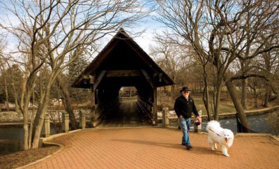 The Naperville Riverwalk in Naperville, Illinois, is about 2 miles long and is a popular spot for jogging and walking.