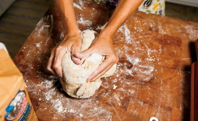 Work dough and divide into three equal loaves.