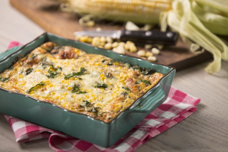 Sweet Corn, Spinach and Cheddar Egg Bake