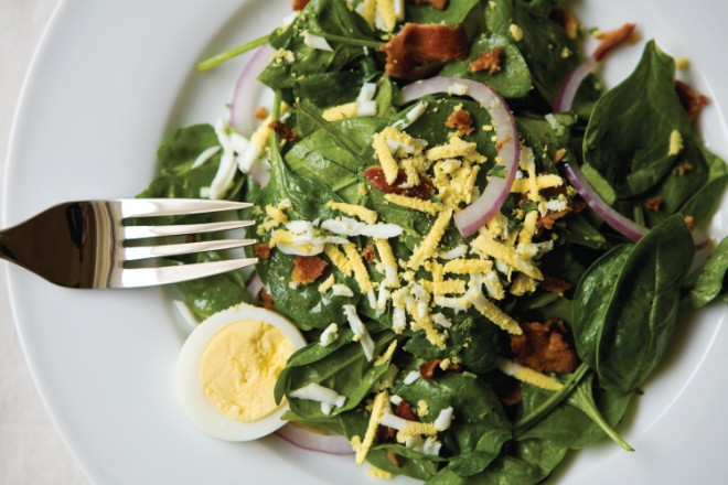 Wilted Spinach with Warm Bacon Vinaigrette