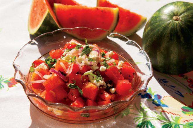 Watermelon Tomato Salad with Feta Cheese