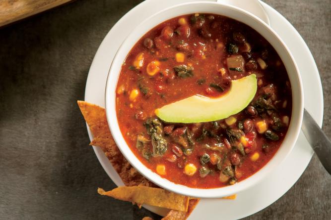 Chunky Black Bean and Tortilla Soup