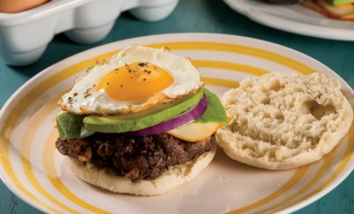 Cheesy Avocado Breakfast Burgers
