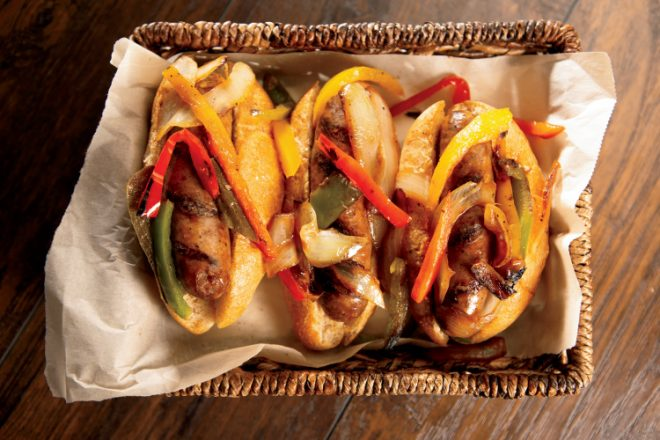 Grilled Sausages with Caramelized Onions and Sweet Peppers