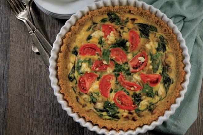 Spinach, Tomato and Feta Quiche with Quinoa Crust