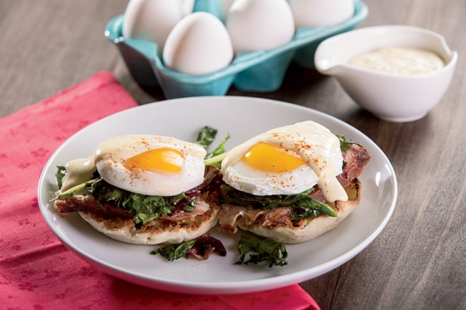 Eggs Benedict with Wilted Spring Greens