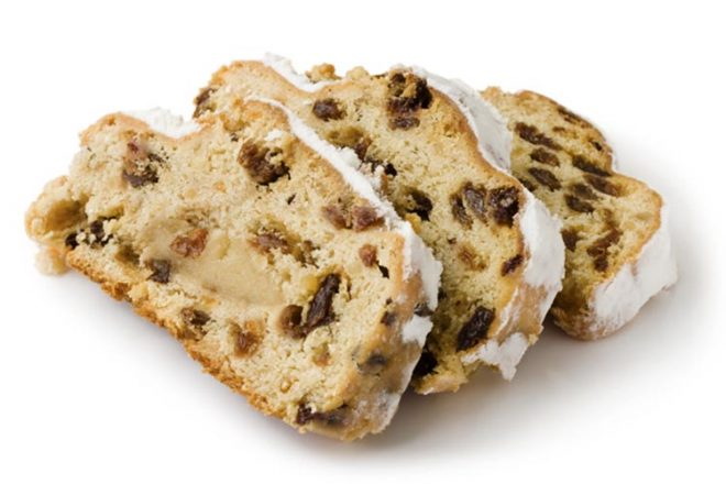 Slices of Stollen isolated on a white background