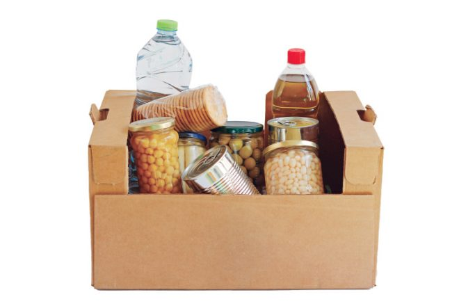 Food in a donation box